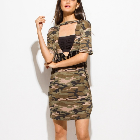 Dresses & Skirts - Olive Green Army Camo Print Choker Cut Out Short S